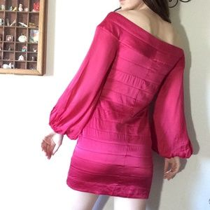 bebe Dresses - BEBE HOT Fuscia Pink Billow Sleeve Pirate Dress